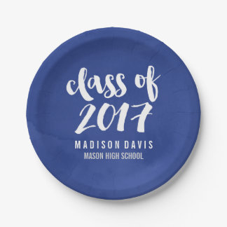 Chic Blue Watercolor | Graduation Party Paper Plate