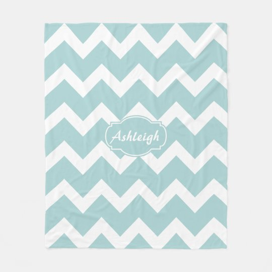 Chic Blue/White Chevron, personalize w name Fleece Blanket