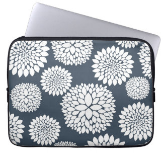 Chic Blue White Flowers Laptop Sleeve