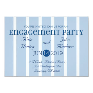 Chic Blue White Stripe Engagement Party Invitation