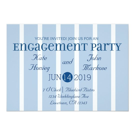 Chic Blue White Stripe Engagement Party Invitation