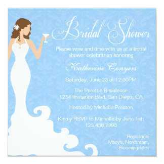 Chic Blue Wine Damask Bridal Shower Invitation