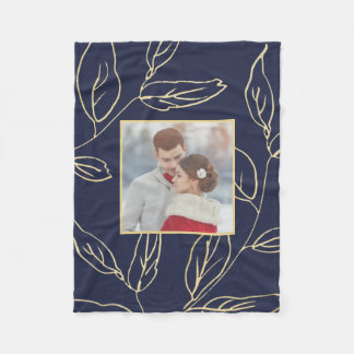 Chic Blue with Gold Color Botanical Add Photo Fleece Blanket