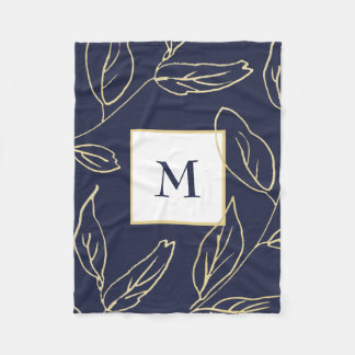Chic Blue with Gold Color Botanical and Monogram Fleece Blanket