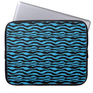 Chic Blue Zebra Animal Print Laptop Sleeve