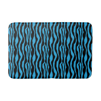 Chic Blue Zebra Print Bath Mat