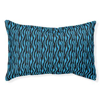 Chic Blue Zebra Print Pattern Pet Bed