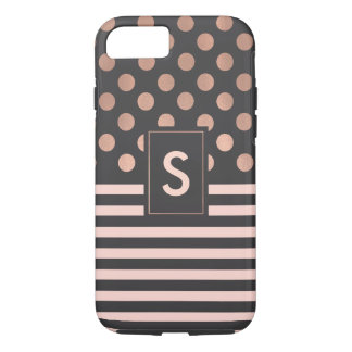 Chic Blush and Gray Monogrammed iPhone 7 case