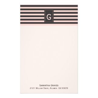 Chic Blush and Gray Monogrammed Stationery