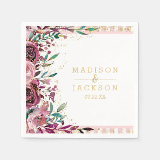 Chic Blush Flowers Stripes & Gold Monogram Wedding Paper Napkins