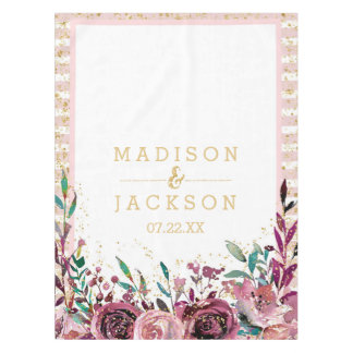 Chic Blush Flowers Stripes & Gold Wedding Monogram Tablecloth