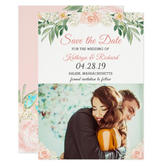 Chic Blush Peach Rose Garden Save The Date Photo Card
