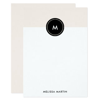 Chic Blush Pink and Black Stationery Card