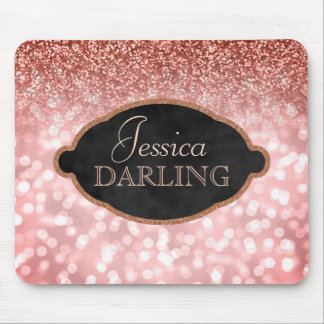 Chic Blush Pink Bokeh Rose Gold Glitter | Monogram Mouse Pad
