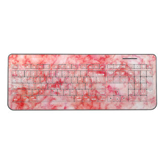 Chic Blush Pink ,Peach, & Coral Marble Texture Wireless Keyboard