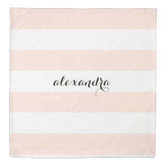 Chic Blush Pink Stripes with your Name Duvet Cover