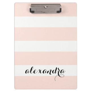 Chic Blush Pink Stripes with your Name in Black Clipboard
