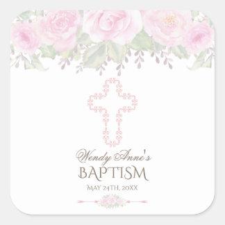 Chic Blush Rose Garden Floral Girl Christening Square Sticker
