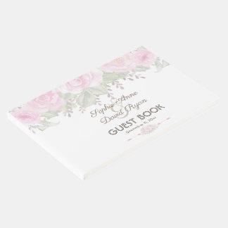 Chic Blush Rose Garden Floral Wedding Guest Book