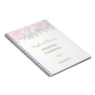Chic Blush Rose Garden Floral Wedding Planner Notebooks