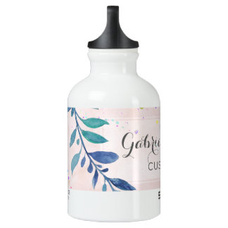 Chic Blush Watercolor Floral Monogram Custom Text Water Bottle
