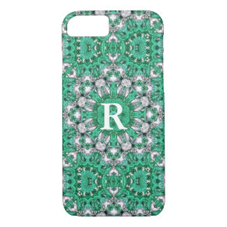 chic bohemian Kaleidoscope emerald green mandala iPhone 8/7 Case