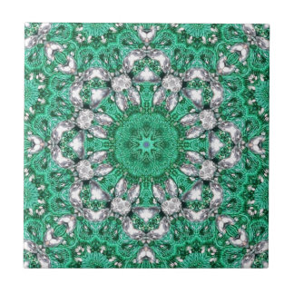 chic bohemian pattern emerald green mandala tile