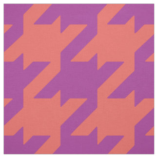 Chic bold orange purple houndstooth pattern fabric