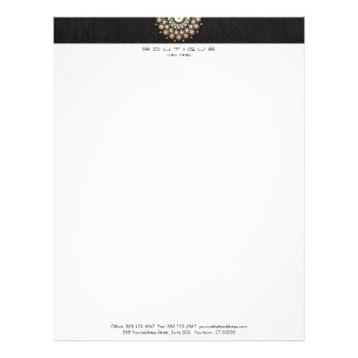Chic Boutique Gold Circle Motif Faux Black Linen Letterhead