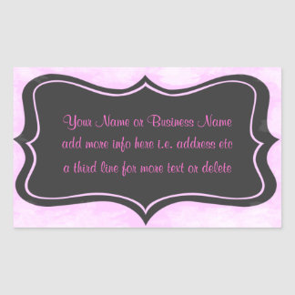 Chic Boutique Pink, Charcoal Gray Rectangular Stic Sticker