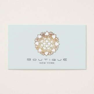 Chic Boutique White Lotus Flower Light Blue Business Card