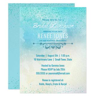 Chic Bridal Luncheon   Teal Blue Wedding Shower Card