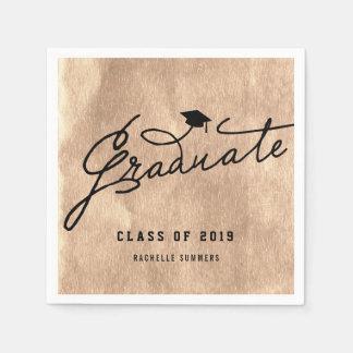 Chic Bronze Foil Stylish Graduate Graduation Party Disposable Napkin