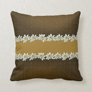 Chic Brown and Golden Edelweiss Accent Pillow
