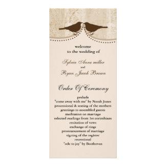 Chic brown bird cage, love birds wedding programs customized rack card