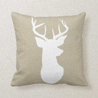 Chic Brown Burlap Rustic Antler Deer Country Throw Pillow