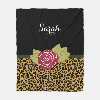 Chic Brown Gold Leopard Print Red Rose With Name Fleece Blanket