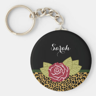 Chic Brown Gold Leopard Print Red Rose With Name Keychain