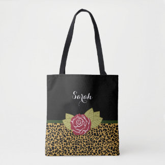 Chic Brown Gold Leopard Print Red Rose With Name Tote Bag