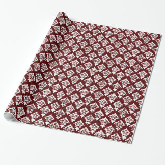 Chic Burgundy and White Damask Wrapping Paper