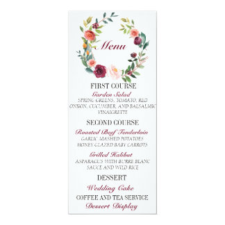 Chic Burgundy Floral Wedding Menu Card