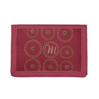 Chic Burgundy Gold Copper Leaf Wallet