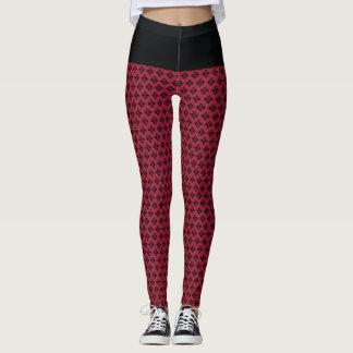 Chic Burgundy Goth Line Pattern! Leggings