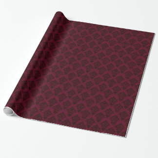 Chic Burgundy on Maroon Damask Wrapping Paper