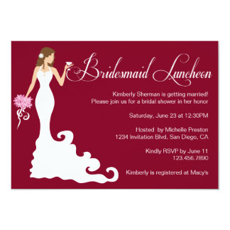 Chic Burgundy Posh Bridesmaid Luncheon Card