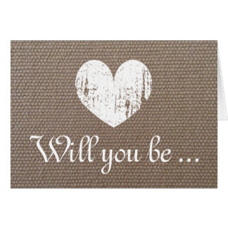 Chic burlap Will you be my bridesmaid request card