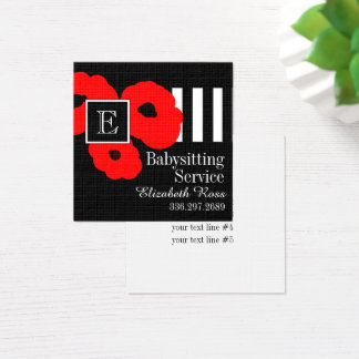 CHIC BUSINESS CARDS_MOD 01 RED POPPIES SQUARE BUSINESS CARD