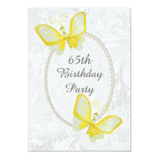 Chic Butterflies Damask 65th Birthday Double Sided Announcements