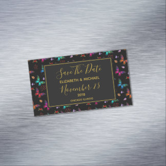 Chic Butterflies Wedding Save The Date Magnetic Business Card