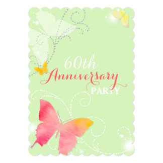 Chic Butterfly 60th Wedding Anniversary Party Card